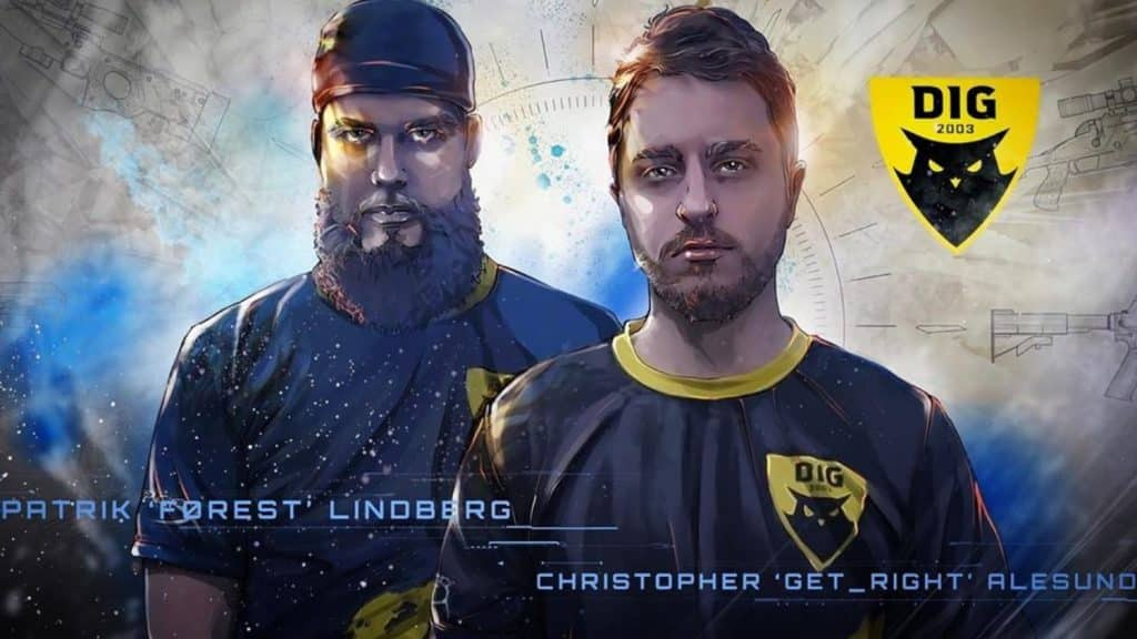 Patrik 'Forest' Lindberg and Christopher 'Get_Right' Alesund stand facing the camera in their DIG jerseys. A comic book filter has been applied to the photo giving it an illustrated feel