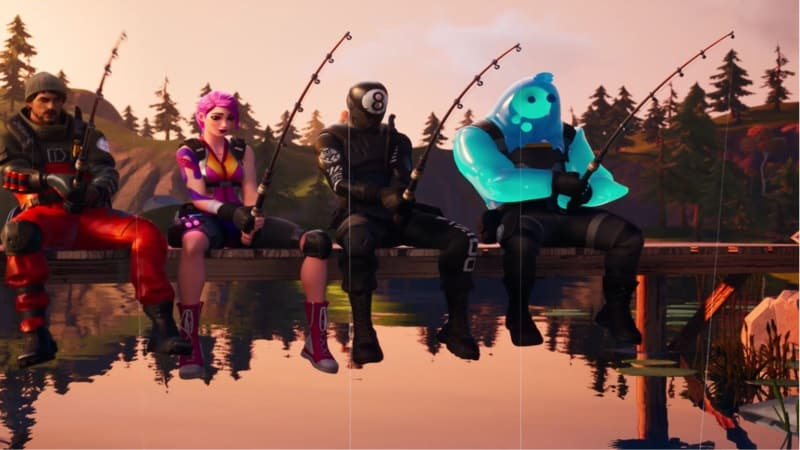 Four Fortnite characters fishing in a pond