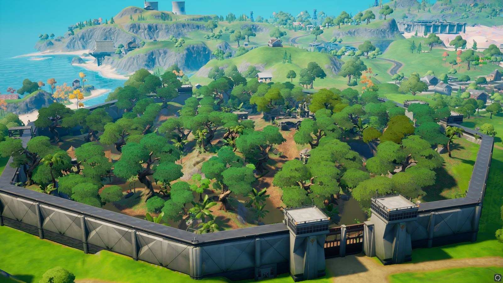 New location, Stealthy Stronghold, a large walled fortress with a forest of trees inside